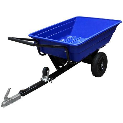 Remorque ATV Jardin Transportation Inclinable Quad Ferme Puissant Tracteur Chargement Utilité Chariot Roues Pneumatiques - Bleu
