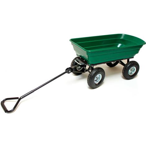 Remorque benne basculante 75 L 250 kg pneus 80 mm chariot de jardin