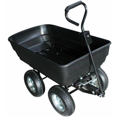 Remorque, chariot de jardin avec benne basculante - 120 L - Noir - Linxor