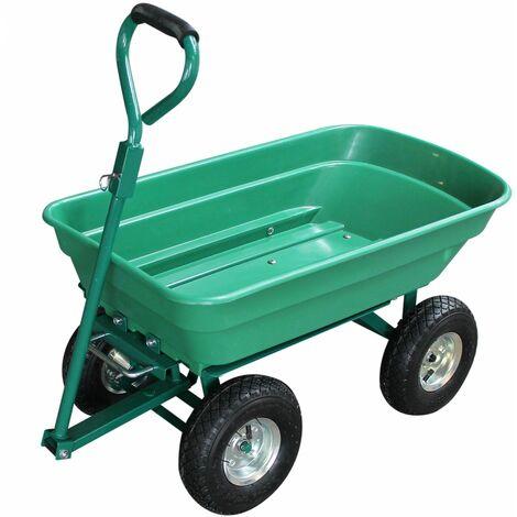 Remorque, chariot de jardin avec benne basculante - 52 L - Vert - Linxor