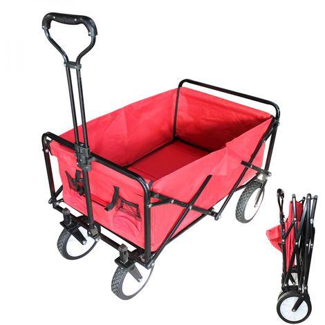Remorque, chariot de jardin pliant - Rouge - Linxor