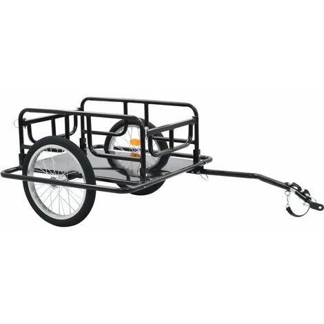 Remorque de bicyclette 130x73x48,5 cm Acier Noir