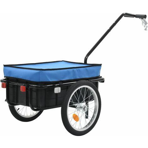 Remorque de bicyclette/chariot à main 155x61x83 cm Acier Bleu