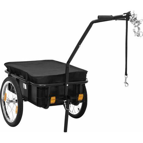 Remorque de bicyclette/chariot à main 155x61x83 cm Acier Noir