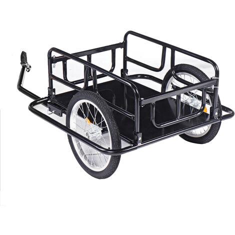 Remorque de bicyclette vélo 130 x 73 x 48,5 cm Acier Noir 50kg max.