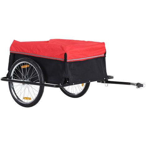 Remorque de transport velo cargo avec reflecteurs et housse amovible rouge/noir