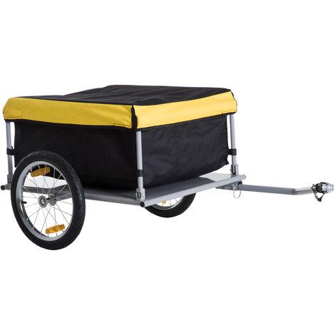 Remorque de transport vélo cargo barre d'attelage incluse housse amovible 4 réflecteurs charge max. 40 Kg noir jaune