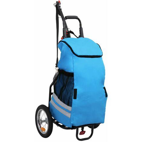 Remorque de vélo pliable avec sac d'épicerie Bleu et noir