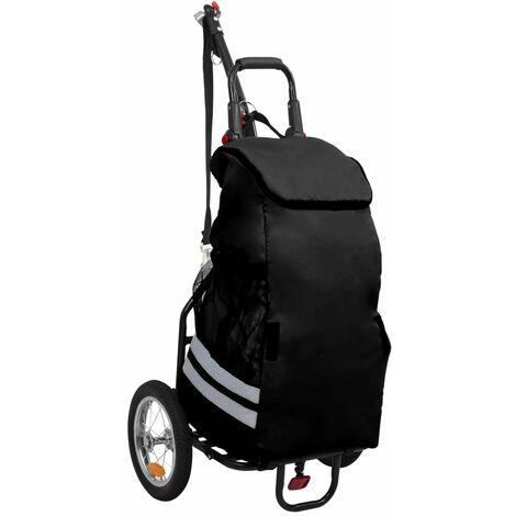 Remorque de vélo pliable avec sac d'épicerie Noir