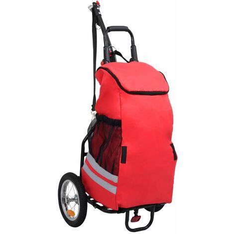 Remorque de vélo pliable avec sac d'épicerie Rouge et noir