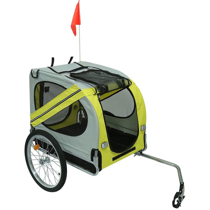 Remorque de vélo pour chiens jaune et gris - Gris Jaune