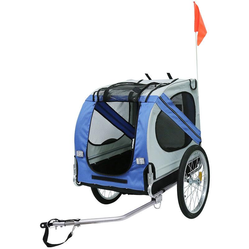 Remorque de vélo pour chiens Bleu et gris - Bleu-gris