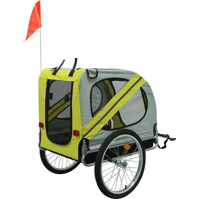 Remorque de vélo pour chiens Jaune et gris - Jaune-gris