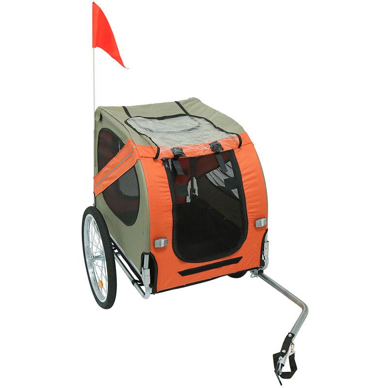 Remorque de vélo pour chiens Orange et gris - Orange-gris