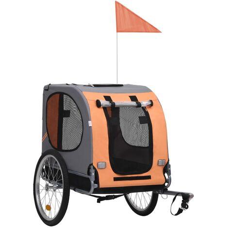 Remorque de vélo pour chiens Orange et marron