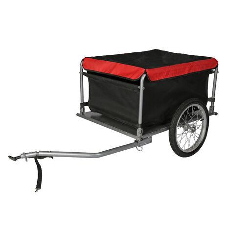 Remorque pour vélo 65 kg max. Timon pliabe & Attelage rapide Transport de charges Randonnée Voyage