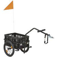 Remorque pour vélo avec boîte pliable noire et drapeau