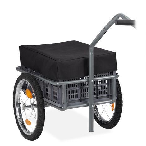 Remorque pour vélos, Porte charge et charrette à bras, boîte de transport pliable, Couverture et attelage,gris