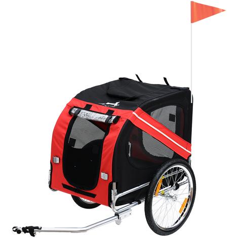 """main image of """"Remorque vélo pour chien animaux pliable 8 réflecteurs drapeau barre attelage inclus acier polyester imperméable max. 30 Kg 130L x 73l x 90H cm rouge"""""""