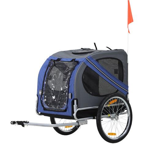 Remorque vélo pour chien animaux pliable 8 réflecteurs drapeau barre attelage inclus acier polyester imperméable max. 40 Kg 130L x 73l x 90H cm bleu