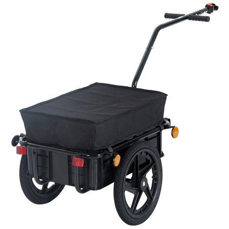 Remorque vélo remorque de transport pour vélo 144L x 59l x 80H cm barre d'attelage universelle acier noir