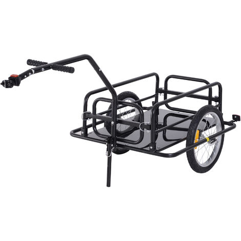 Remorque vélo remorque de transport pour vélo 156L x 72l x 82H cm barre d'attelage universelle pliable acier noir