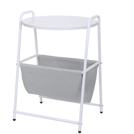 Removable Side Table Bedside Nightsand Laptop Desk Stand With Storage Basket 45x38x67cm White