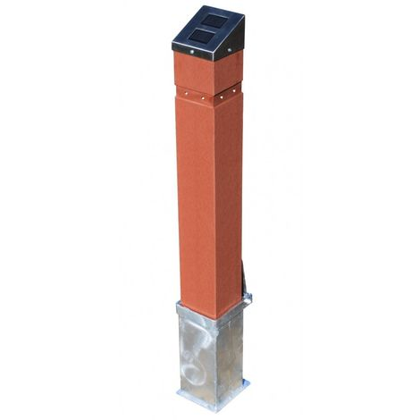 Removable Wood Effect Solar Bollards with Flashing LED Lights