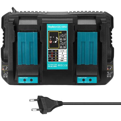 Remplacez le chargeur DC18RD a double charge de batterie au lithium Makita Makita 18-14.4V par deux ports USB, tension large, norme europeenne