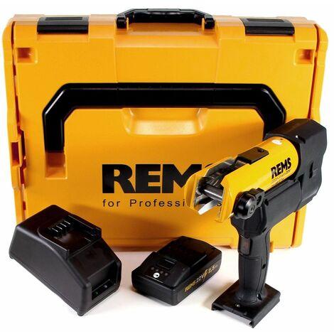 REMS 22V ACC 32kN Sertisseuse électro-hydraulique pour sertissage radial avec retour automatique sans fil + 1x Batterie 2,5Ah + Chargeur + Coffret L-Boxx ( 576011 R220 )