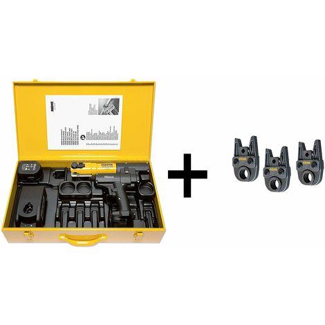 Rems 578026 14.4 V Litio-Ion Batería Juego de prensa radial de CA de una sola mano (1 batería de 1.6Ah) en maletín - 3 mordazas TH16-20-26