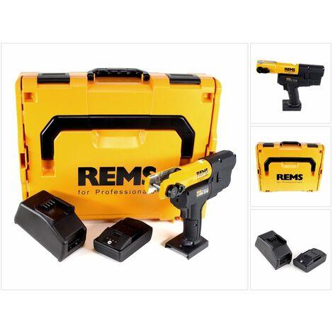 REMS Mini-Press ACC 22 V Sertisseuse sans fil avec marche forcée + Coffret L-Boxx + 1x Batterie 1,5 Ah + Chargeur ( 578014 R220 )