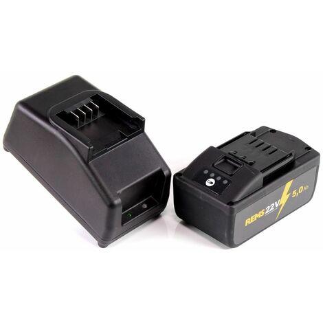 REMS Power Pack 21,6V (22V max) Set de Batteries: 1x Batterie 5,0 Ah (571581 R22) + Chargeur 90W (571585 R220)