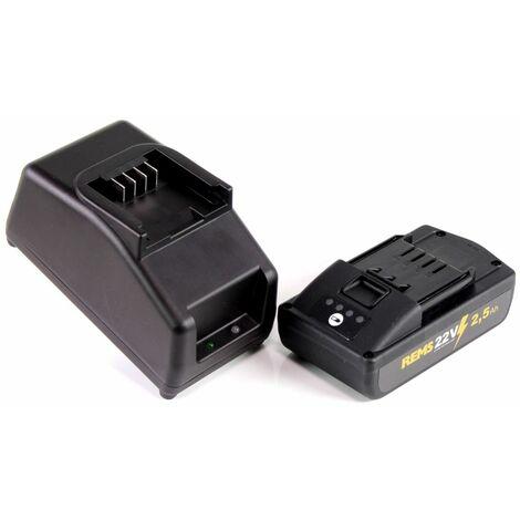 REMS Set de Batterie Power Pack 21,6V (22V max) + 1x Batterie 2,5Ah ( 571571 R22 ) + Chargeur 90W (571585 )