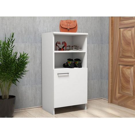 Ren Shoe Cabinet - Organizer Rack - with Doors, Shelves - for Hall - White, made in Wood, 45 x 31,8 x 91,8 cm