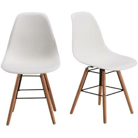 RENA Lot de 2 chaises salle a manger - Blanc + Pieds bois hetre ...