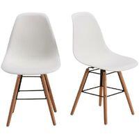 RENA Lot de 2 chaises salle a manger - Blanc + Pieds bois hetre massif - Scandinave - L 52 x P 46.5 cm Generique