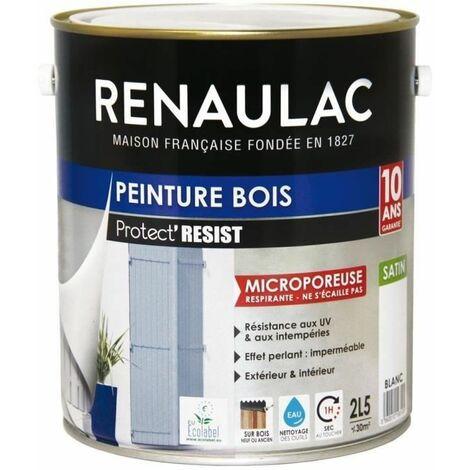 RENAULAC Peinture Bois Blanc - Garantie 10 ans - 2,5L - 30m² / pôt