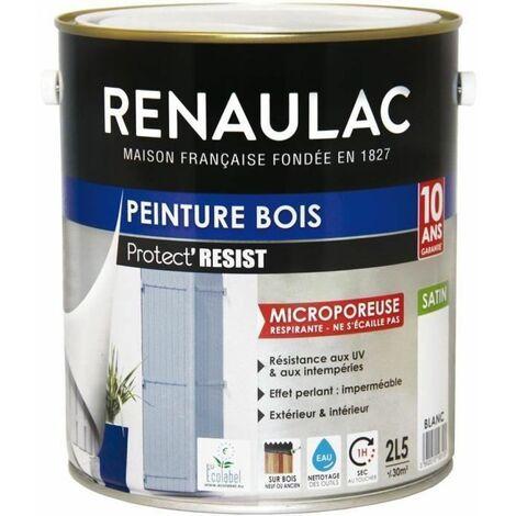 RENAULAC Peinture Bois Blanc - Garantie 10 ans - 2,5L - 30m2 / pot