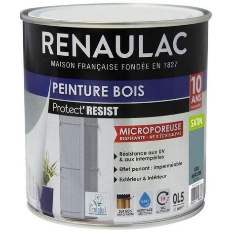 RENAULAC Peinture Bois Gris Mercure - Garantie 10 ans - 0,5L - 6m² / pôt