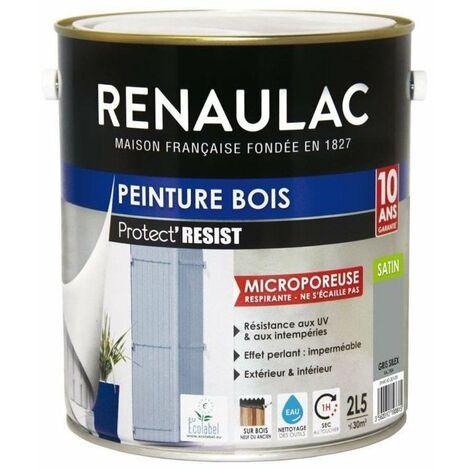 RENAULAC Peinture Bois Gris Silex - Garantie 10 ans - 2,5L - 30m² / pôt