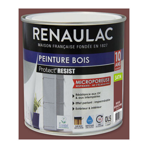 Renaulac Peinture Bois Microporeuse Beige Sablonneux - Garantie 10 ans - 2,5L - 30m² / pôt - Beige Sablonneux