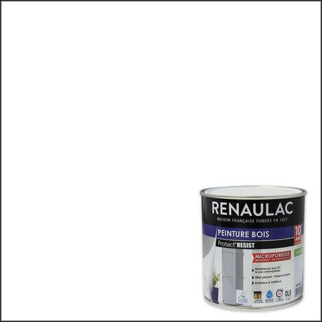 Renaulac Peinture Bois Microporeuse Blanc - Garantie 10 ans - 0,5L - 6m² / pôt - Blanc