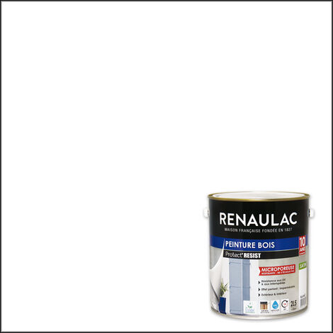 Renaulac Peinture Bois Microporeuse Blanc - Garantie 10 ans - 2,5L - 30m² / pôt - Blanc