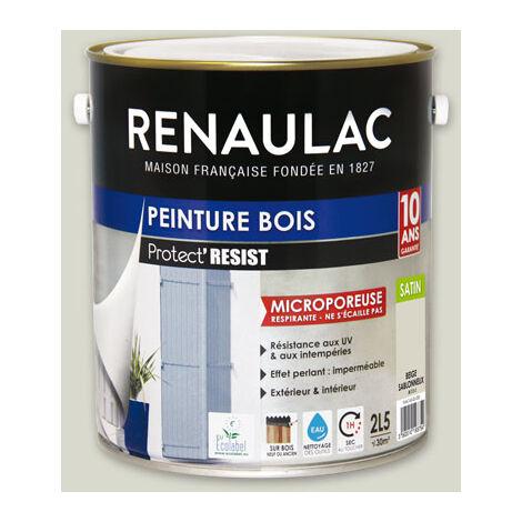 Renaulac Peinture Bois Microporeuse Rouge Bourgogne - Garantie 10 ans - 0,5L - 6m² / pôt - Rouge Bourgogne