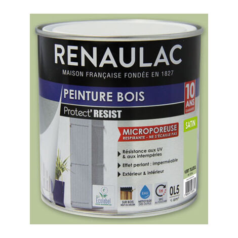 Renaulac Peinture Bois Microporeuse Vert Tilleul - Garantie 10 ans - 0,5L - 6m² / pôt - Vert Tilleul