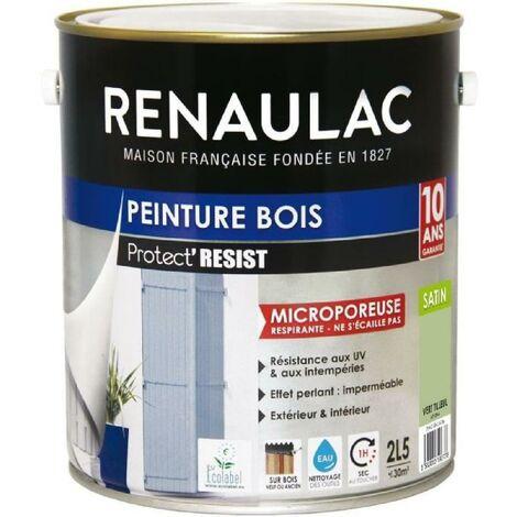 RENAULAC Peinture Bois Vert Tilleul - Garantie 10 ans - 2.5L - 30m² / pôt