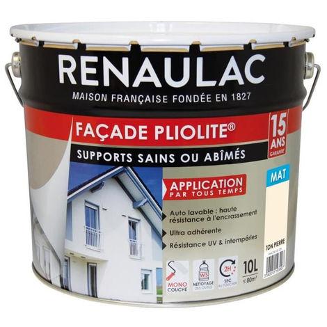 RENAULAC Peinture de façade Pliolite Haute résistance - 10 L - Ton pierre