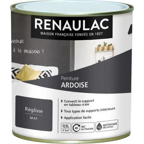 RENAULAC PEINTURE DÉCORATIVE EFFET ARDOISE REGLISSE - MAT - 5M² PÔT C-RE-ARD10090-0L5
