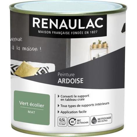 Renaulac Peinture Décorative Effet Ardoise Vert écolier Mat 5m² Pôt C Re Ard00001 0l5